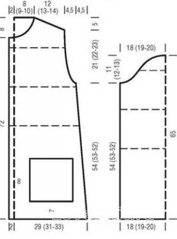 Схема вязания удлиненное пальто в широкую полоску раздел вязание спицами для женщин пальто