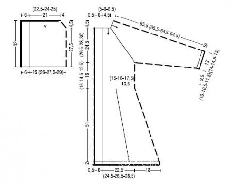 Схема вязания удлиненное пальто без застежек с капюшоном раздел вязание спицами для женщин пальто