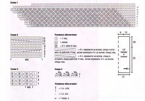 Схема вязания ажурная вишневая туника раздел вязание крючком для женщин кофты для женщин