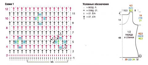 Схема вязания полосатый топ с мелкими цветами раздел вязание крючком для женщин кофты для женщин