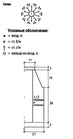 Схема вязания топ с ажурным рисунком на спине раздел вязание крючком для женщин кофты для женщин