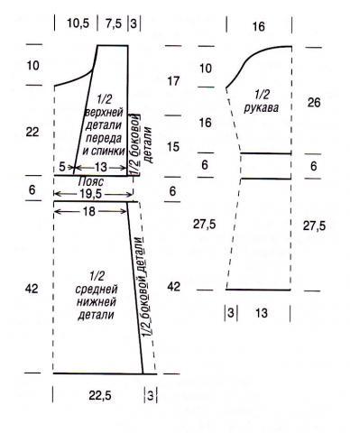 Схема вязания удлиненный пуловер в полоску раздел вязание крючком для женщин кофты для женщин