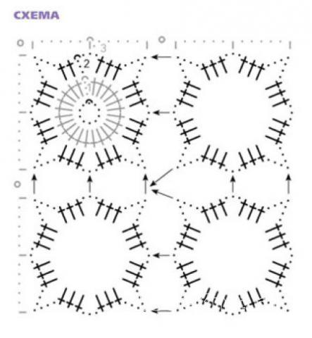 Схема вязания жилет из цветочных мотивов раздел вязание крючком для женщин жилеты, безрукавки для женщин