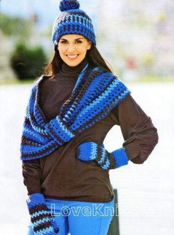 Схема вязания цветная шапочка с помпоном, шарф-хомут и варежки раздел вязание крючком для женщин шапки для женщин