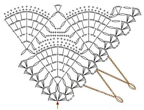 Схема вязания бежевая ажурная шаль раздел вязание крючком для женщин шарфы, шали, палантины для женщин