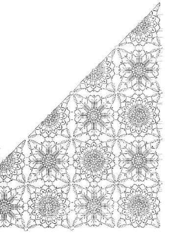 Схема вязания шаль с ажурным узором и бахромой раздел вязание крючком для женщин шарфы, шали, палантины для женщин