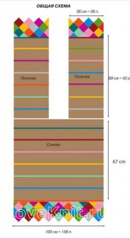 Схема вязания накидка-жилет в полоску раздел вязание крючком для женщин накидки, болеро для женщин