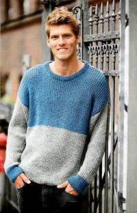 Как связать для мужчин двухцветный мужской пуловер