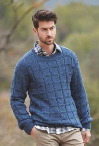Как связать для мужчин мужской пуловер с узором из квадратов