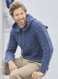 Как связать для мужчин пуловер с капюшоном и узорами из «кос»
