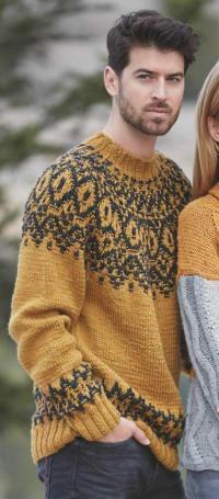 Как связать для мужчин свитер мужской с цветной кокеткой