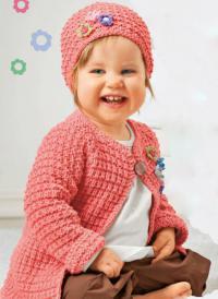Как связать  детская кофта реглан и шапочка