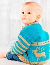 Как связать  детская кофта и шарф-капюшон с цветным узором