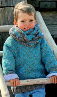 Как связать  детская кофта с жаккардовым узором и шарф-хомут