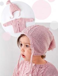 Как связать  детская шапочка на завязках с помпоном и жакет на пуговицах