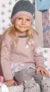 Как связать  детская туника с отделкой кружевом и шапка