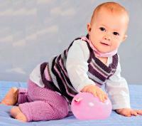 Как связать  детская туника в полоску и брючки