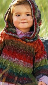 Как связать  детский цветной джемпер с капюшоном