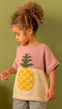 Как связать  детский двухцветный джемпер с ананасом