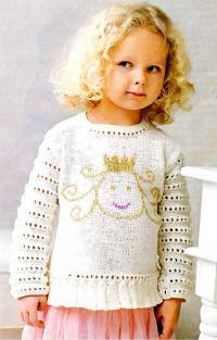 Как связать  детский джемпер с рисунком принцессы