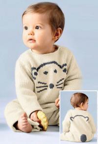 Как связать  детский комбинезон с длинными рукавами и контрастной вышивкой
