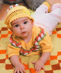 Как связать  детский комплект из (кофточка, шапочка и носочки)