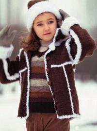 Как связать  детский коричневый жакет