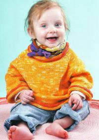 Как связать  детский оранжевый пуловер на 1-3 года