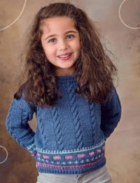 Как связать  детский пуловер с цветным орнаментом и косами
