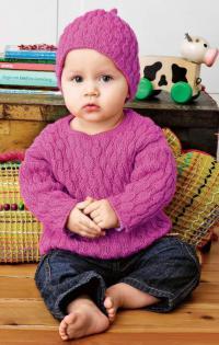 Как связать  детский пуловер и шапка рельефным узором