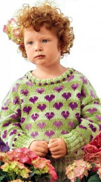 Как связать кофты детский пуловер с узором сердечки