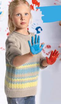 Как связать  детский свитер с цветным рисунком