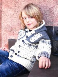 Как связать  детский жакет с капюшоном для мальчика