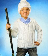 Как связать  джемпер для мальчика с воротничком и шапочка