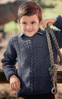 Как связать  классический пуловер с косами для мальчика
