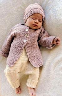 Как связать  кофта реглан и шапочка простым узором для малыша