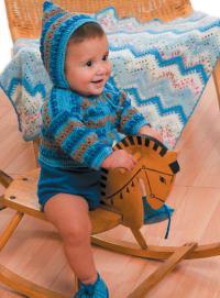 Как связать  комплект для малыша (кофта, чепчик и пинетки)