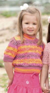 Как связать  короткий ажурный пуловер для девочки