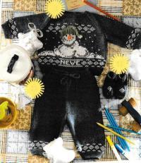 Как связать  костюм из свитера со снеговиком и штанишек с пинетками