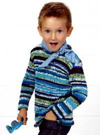 Как связать  меланжевый джемпер для мальчиков