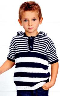Как связать  полосатый джемпер для мальчика с капюшоном