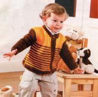Как связать  полосатый джемпер на молнии для мальчика
