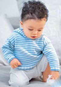 Как связать кофты полосатый пуловер с капюшоном для ребенка до 2х лет