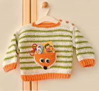Как связать  полосатый пуловер с карманом в виде лисы