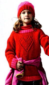 Как связать  пуловер с ажурным сердцем и шапочка для девочки