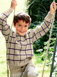 Как связать  пуловер для мальчика в клеточку