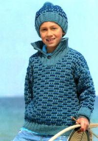 Как связать  пуловер и шапочка с цветным рисунком