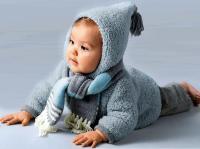 Как связать  пушистая кофта для малыша с капюшоном