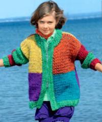 Как связать  разноцветный жакет на молнии и шапка для ребенка