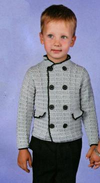 Как связать  серый жакет с двумя рядами пуговиц для мальчика